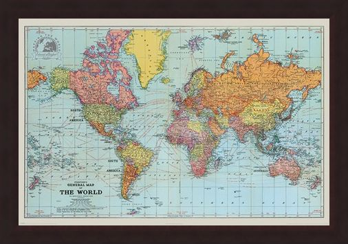 Framed Framed General Map Of The World Colour - Stanfords