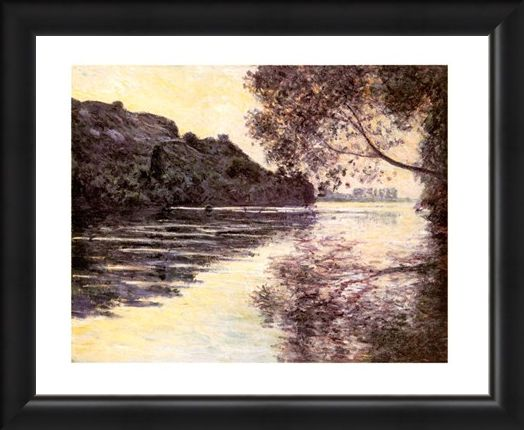 Framed Framed Effet De Soleil Couchant Sur La Seine At Port-Ville - Claude Monet