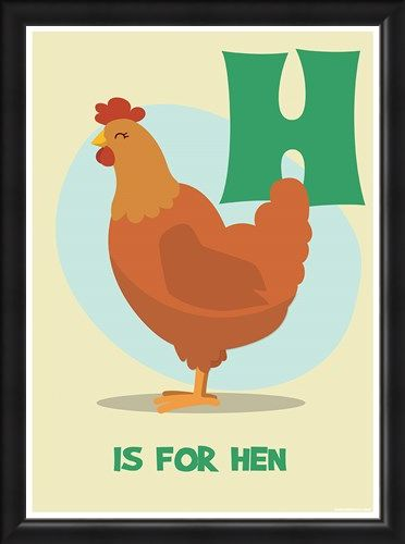 Framed Framed H Is For Hen - Learning By Pictures