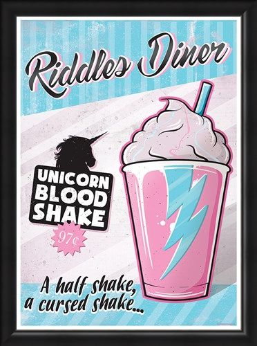 Framed Framed Riddles Diner - Unicorn Blood Shake
