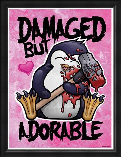 Framed Framed Damaged But Adorable - Psycho Penguin