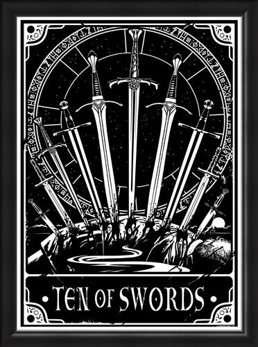 Framed Framed Ten Of Swords - Deadly Tarot