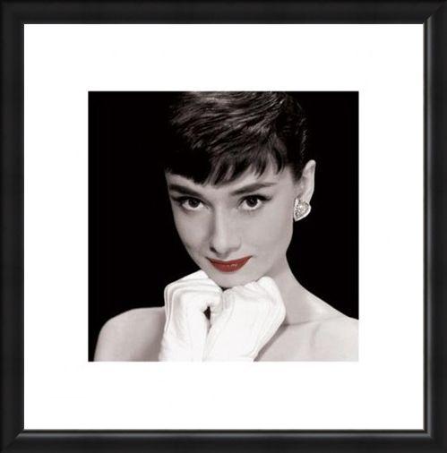 Framed Framed White Gloves & Red Lips - Audrey Hepburn