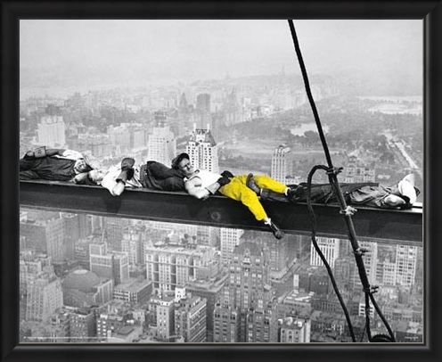 Framed Framed Yellow Highlight - Men on a Girder