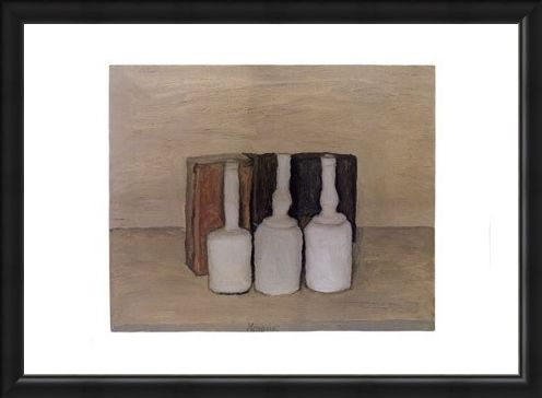 Framed Framed Three Bottles - Giorgio Morandi