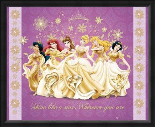 Framed Framed Shine Like a Star - Disney Princesses