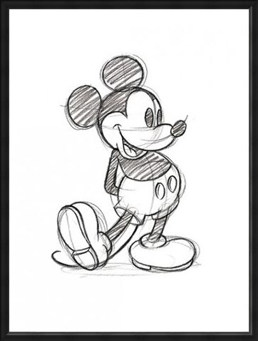 Framed Framed Mickey Mouse Sketch - Walt Disney