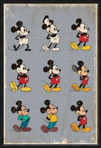 Framed Framed Mickey Mouse Evolution - Walt Disney