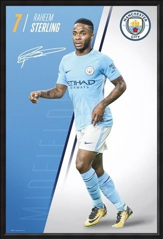 Framed Framed Sterling 17-18 - Manchester City