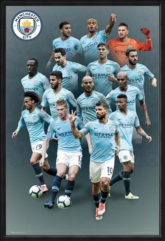 Framed Framed Manchester City Players 18-19 - The Citizens