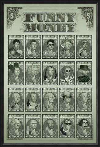 Framed Framed Funny Money - One Dollar Bill