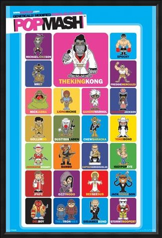 Framed Framed PopMash Characters - Genetically Modified Modern Culture