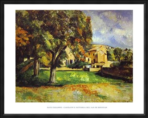 Framed Framed Chestnut Trees and Farm at the Jas de Bouffan - Paul Cezanne