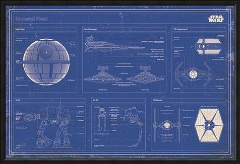 Framed Framed Imperial Fleet Blueprint - Star Wars