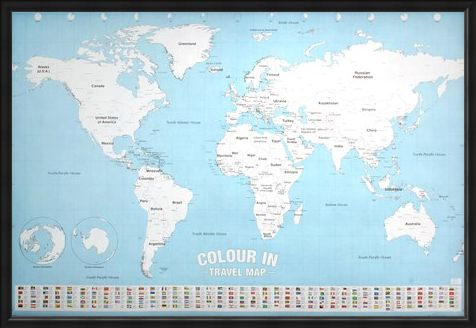 Framed Framed Colour In - World Map