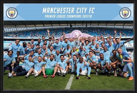 Framed Framed Official Premier League Champions 17-18 - Manchester City