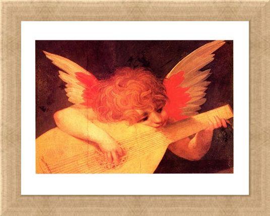 Framed Framed Putto Musicante - Rosso Fiorentino