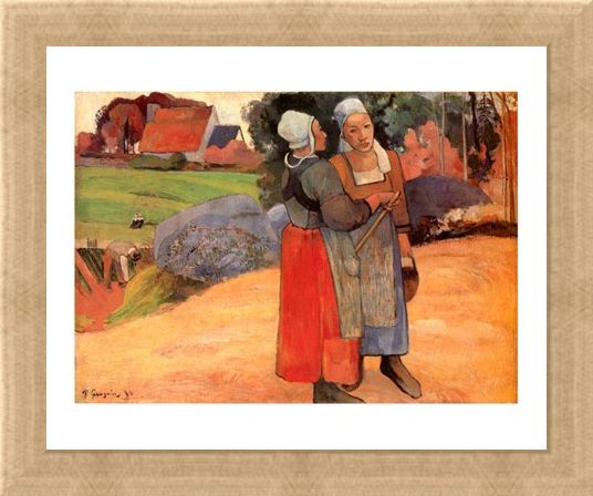 Framed Framed Paysannes Bretonnes - Paul Gauguin