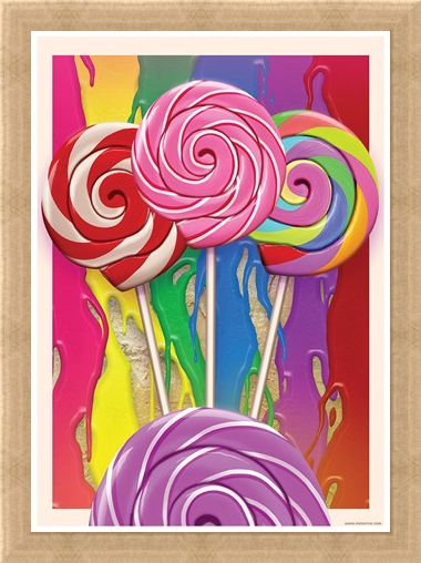 Framed Framed Popping Popsickles - Candy Kaleidescope