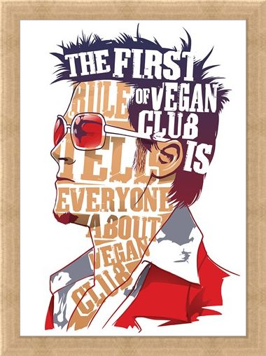 Framed Framed The First Rule Of Vegan Club Mini Poster -