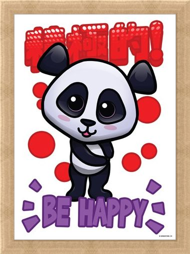 Framed Framed Handa Panda Be Happy Mini Poster -