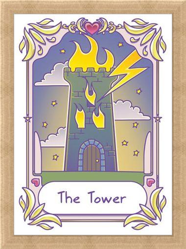 Framed Framed The Tower - Deadly Tarot Kawaii