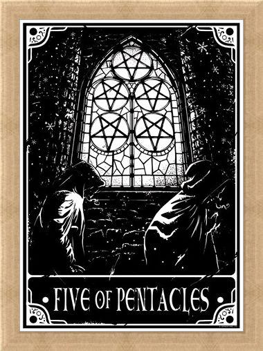 Framed Framed Five Of Pentacles - Deadly Tarot