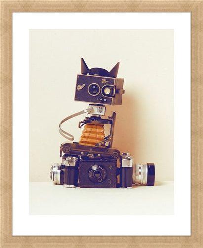 Framed Framed Robot Cat - Ian Winstanley