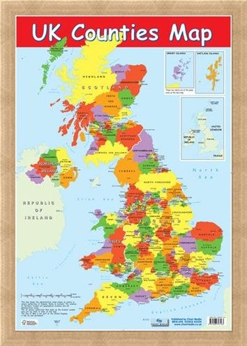 Framed Framed UK Counties Map - Educational Map
