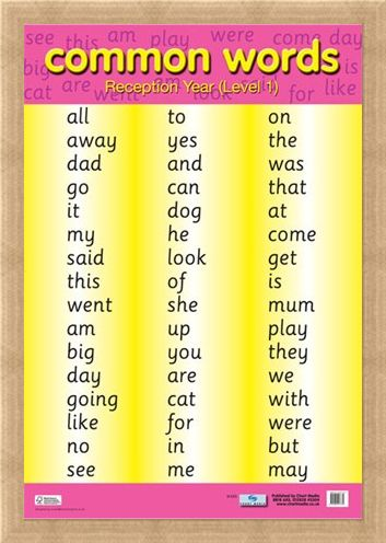 Framed Framed Common Words Level 1 - Educational Children's Chart