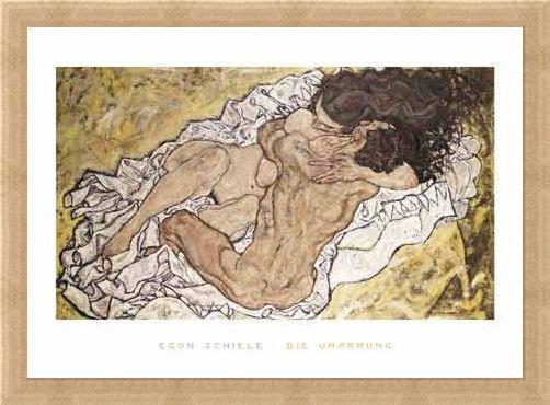 Framed Framed The Embrace (Lovers II), 1917 - Egon Schiele