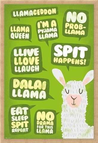 Framed Framed Spit Happens! - Llama Quotes