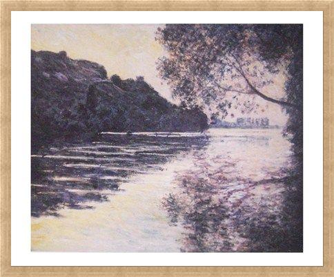 Framed Framed Effect of the Sun on The Seine - Claude Monet