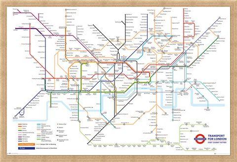 Framed Framed Underground Map - Transport For London