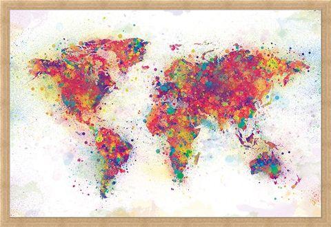 Framed Framed Colour Splash - World Map