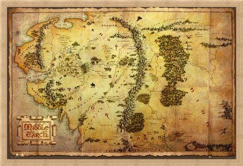 Framed Framed Map of Middle Earth - The Hobbit