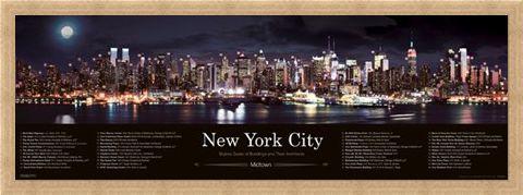 Framed Framed Skyline at Night - New York City