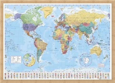 Framed Framed World Map with Flags - World Map
