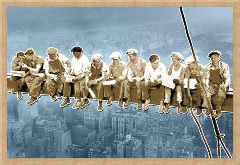 Framed Framed Pop Art Style Men On A Girder - Above New York, USA