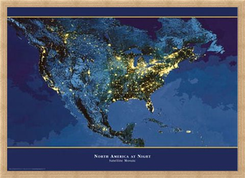 Framed Framed Satellite Urbanization Image of North America - North America At Night