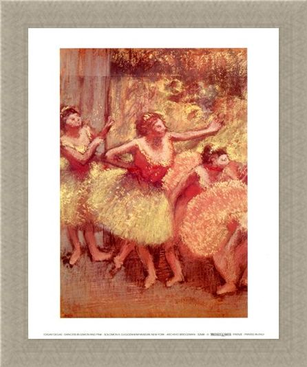 Framed Framed Dancers in Lemon and Pink - Edgar Degas