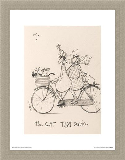 Framed Framed The Cat Taxi Service Sketch - Sam Toft