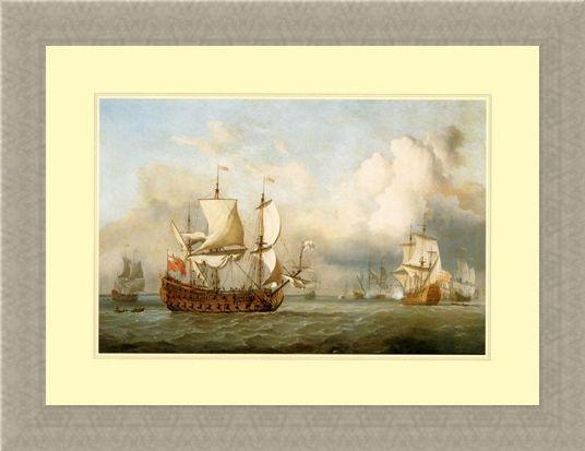 Framed Framed The Ship ' English Indiaman' - Antonio Jacobsen