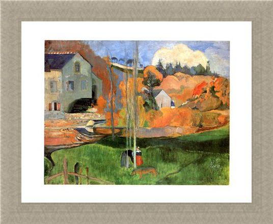 Framed Framed Paysage De Bretagne - Paul Gauguin