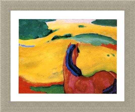 Framed Framed Pferd In Der Landschaft - Franz Marc