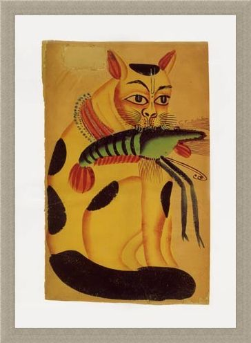 Framed Framed Cat with Prawn - Indian Popular Painting from Kalighat