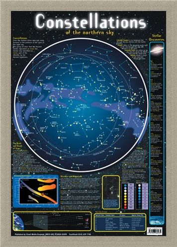 Framed Framed Constellations of the Northern Sky - Stellar Map