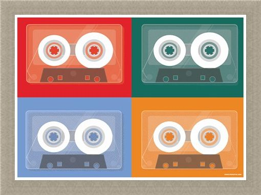 Framed Framed Colourful Tapes - Cassette Quad