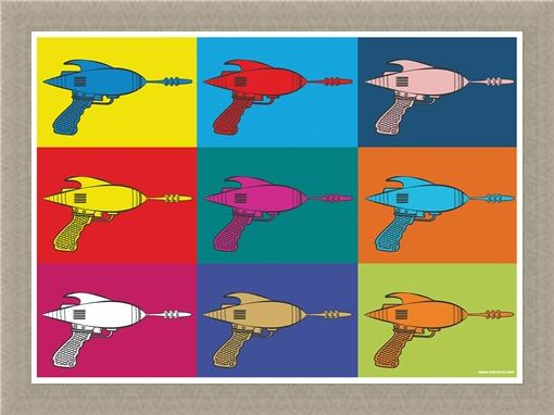 Framed Framed Colourful Blaster Guns - Futuristic PopArt