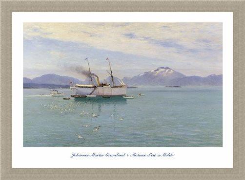 Framed Framed Matinée d'Eté à Molde (Morning on the Moldefjord) - Johannes Martin Grimelund